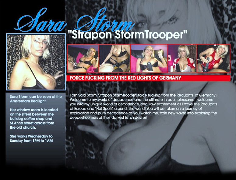 Sara Storm is a pimp mistress in Amsterdam learn her redlight secret on how see controls slaves and she becomes their pimp mistress with poppers and hard strapon sex